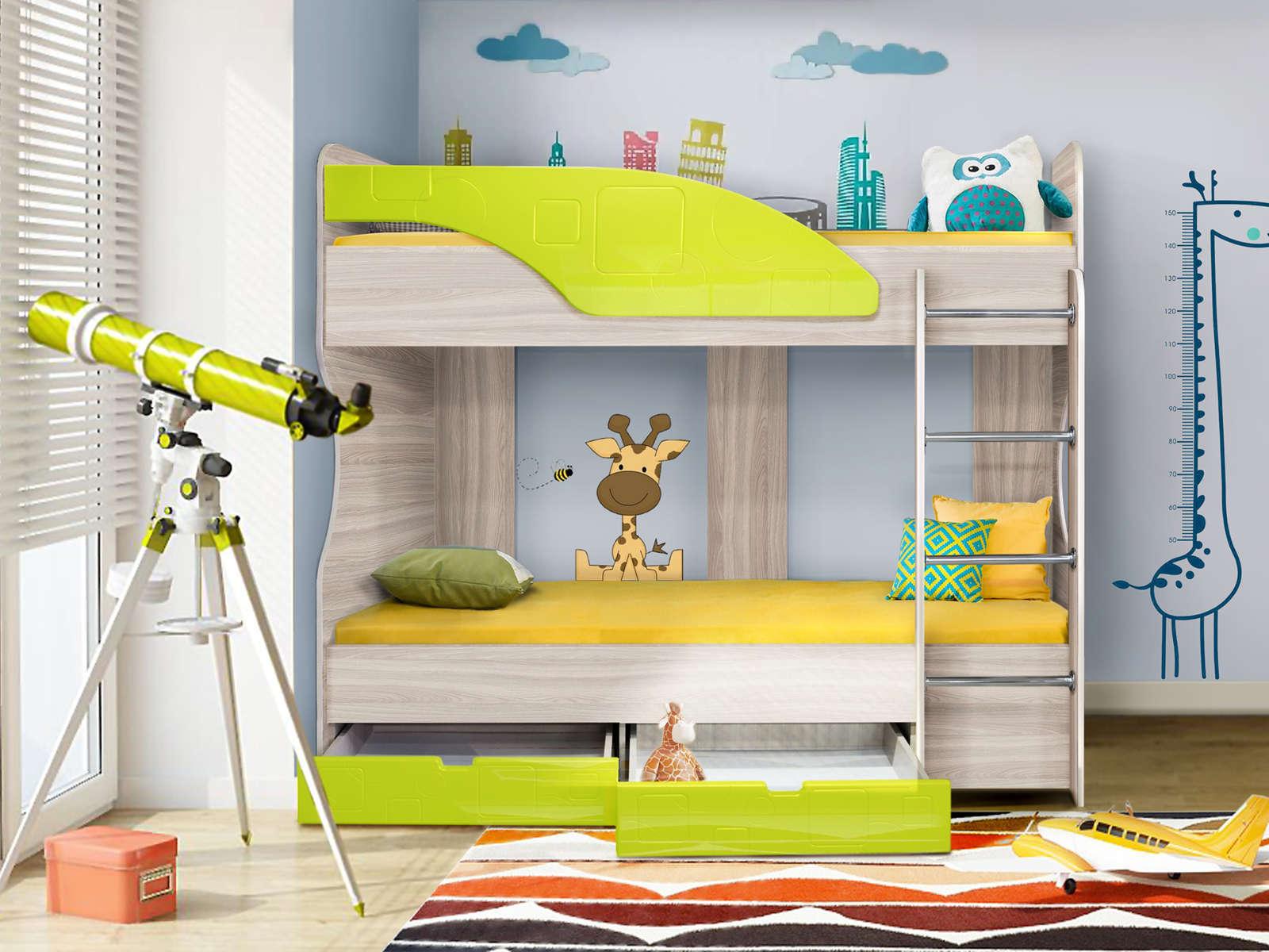 Кровать Бриз 5 (80х190) Лайм квадрат, Зеленый, Бежевый, МДФ, ЛДСП