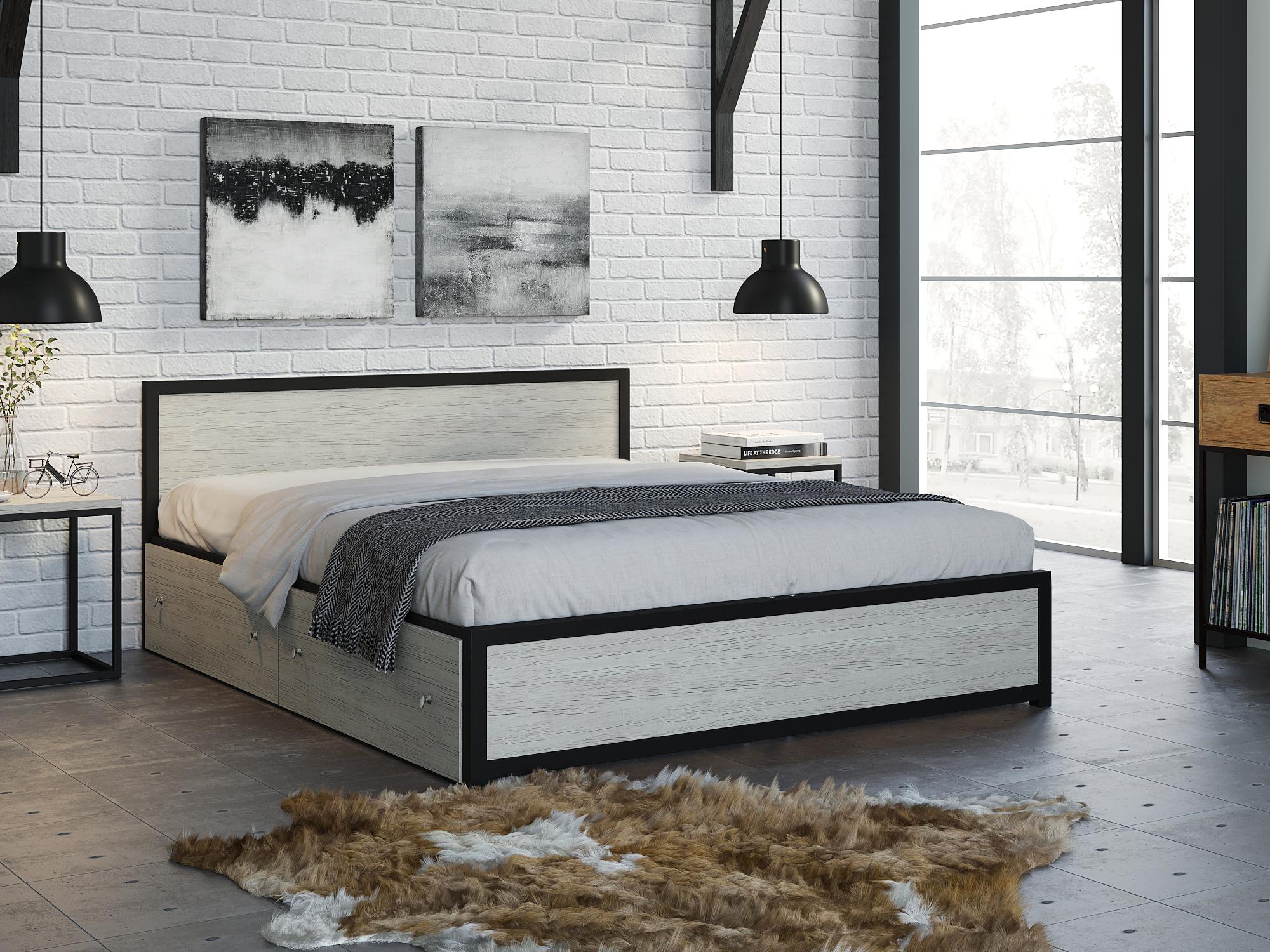 Фото - Кровать Титан (160х200) Дуб крафт белый, Черный, ЛДСП 26 мм, Металл крафт роберт эмиль воздушный пират икс металл