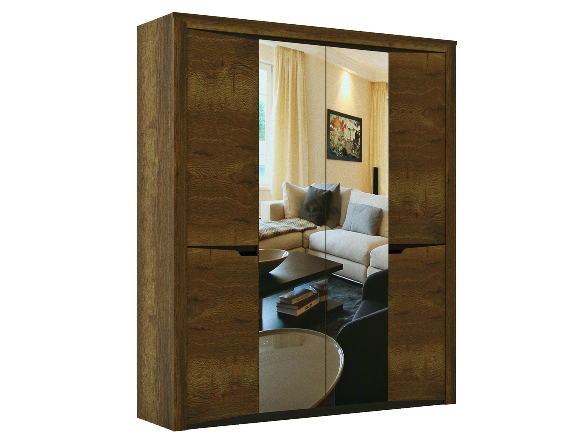 Шкаф 4-х дверный Гарда Дуб галифакс табак, Коричневый, Коричневый