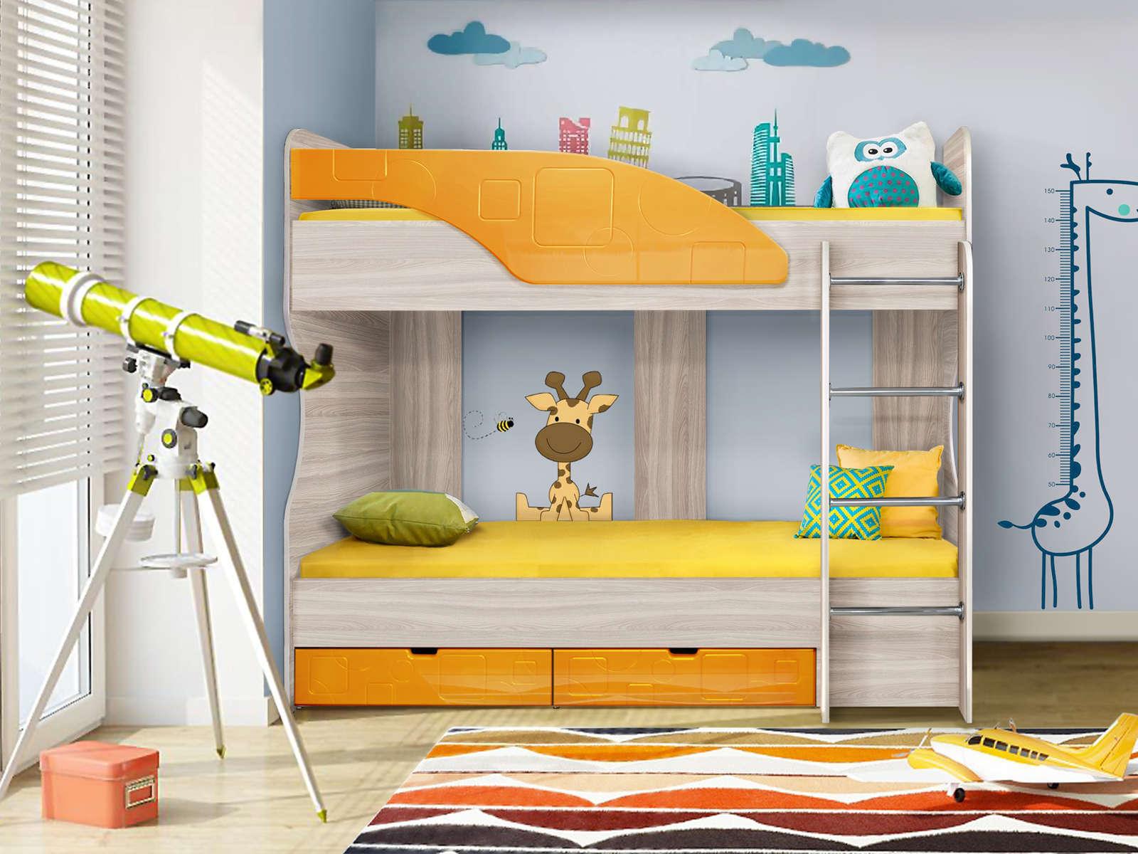Кровать Бриз 5 (80х190) Манго квадрат, Оранжевый, Бежевый, МДФ, ЛДСП