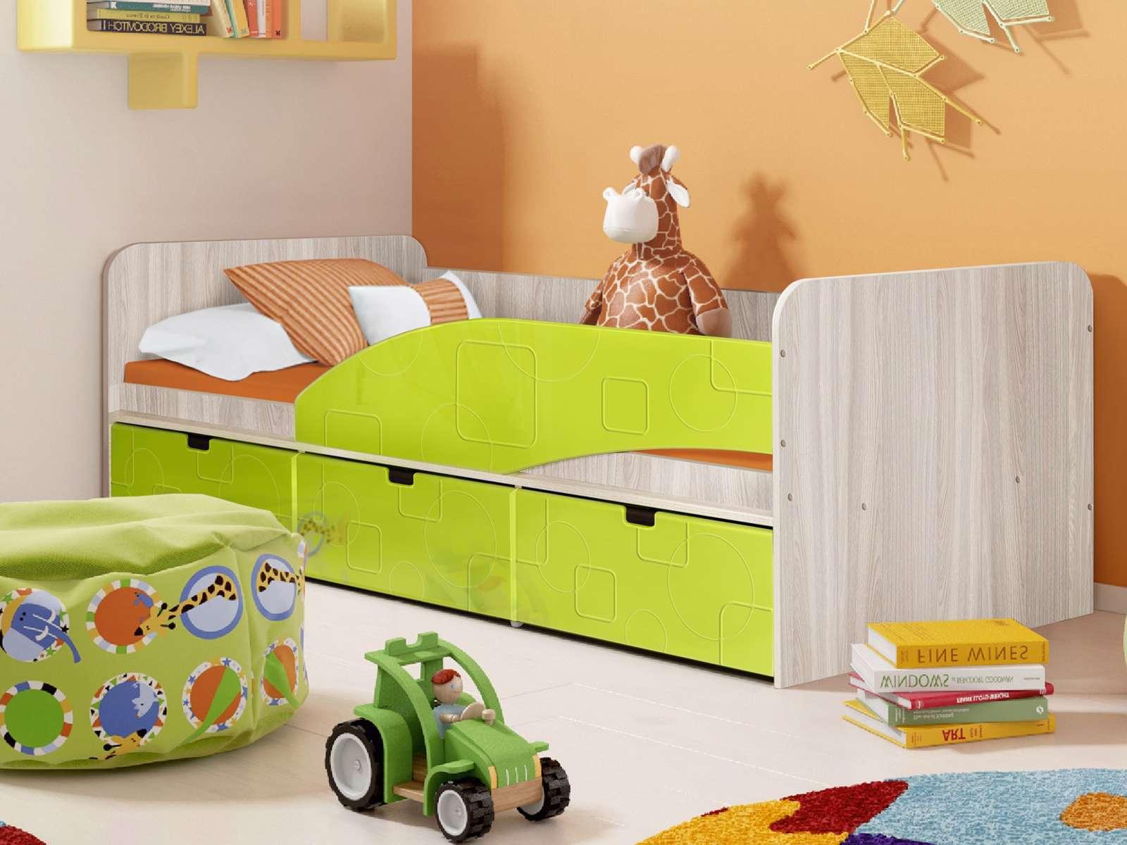 Кровать Правая Бриз 3 (80х190) Лайм квадрат, Зеленый, Бежевый, МДФ, ЛДС