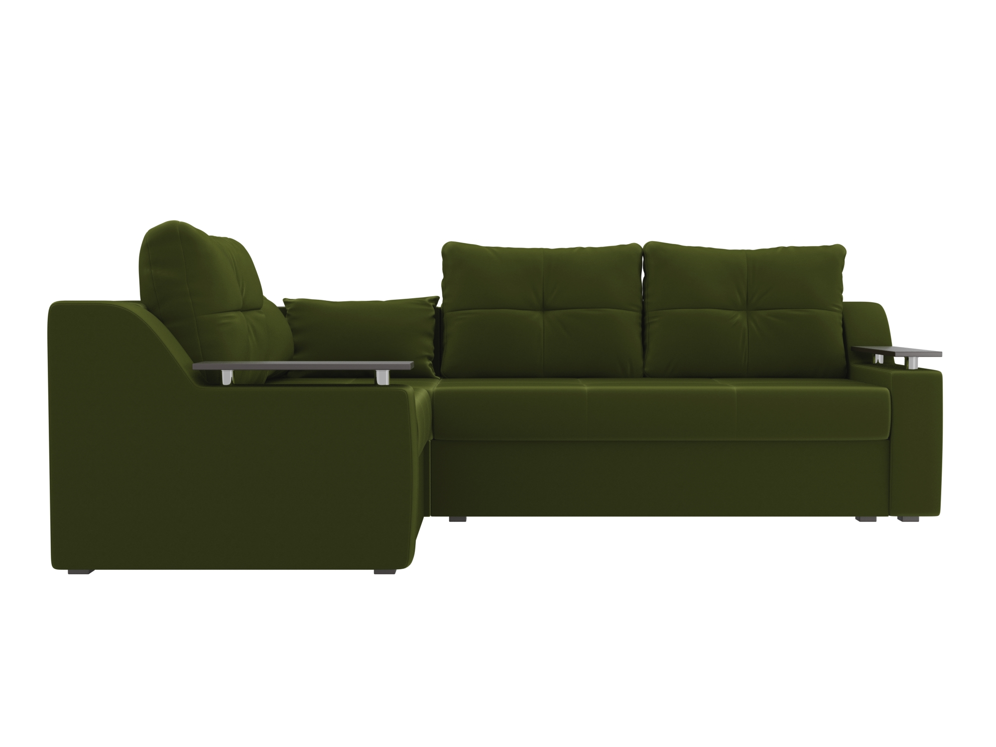 Угловой диван Митчелл Левый MebelVia Зеленый, Микровельвет, ЛДСП угловой диван милфорд левый mebelvia зеленый микровельвет лдсп