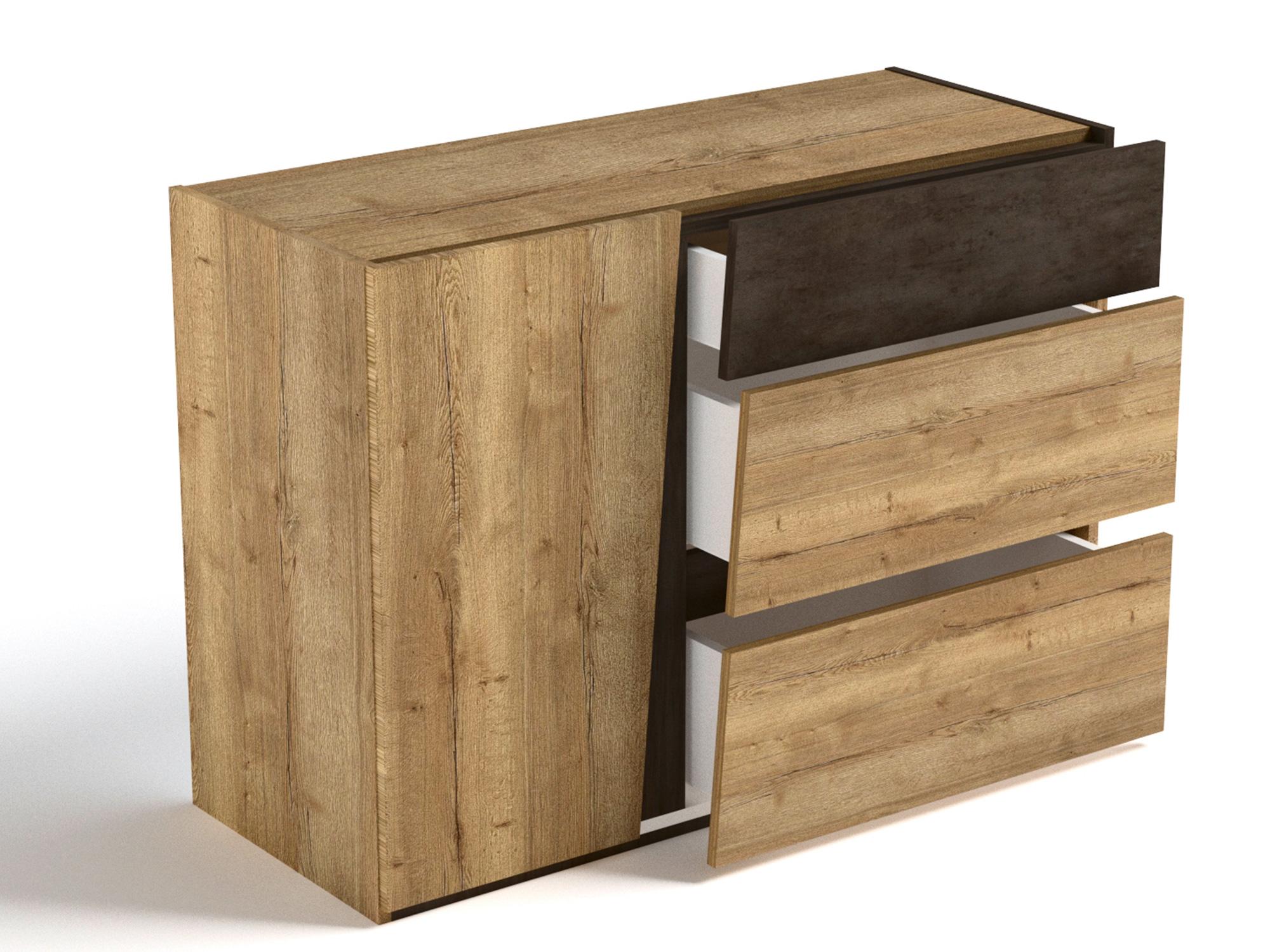 Фото - Комод малый Стреза Дуб Галифакс натуральный, Бетон чикаго шкаф однодверный стреза дуб галифакс натуральный бетон чикаго