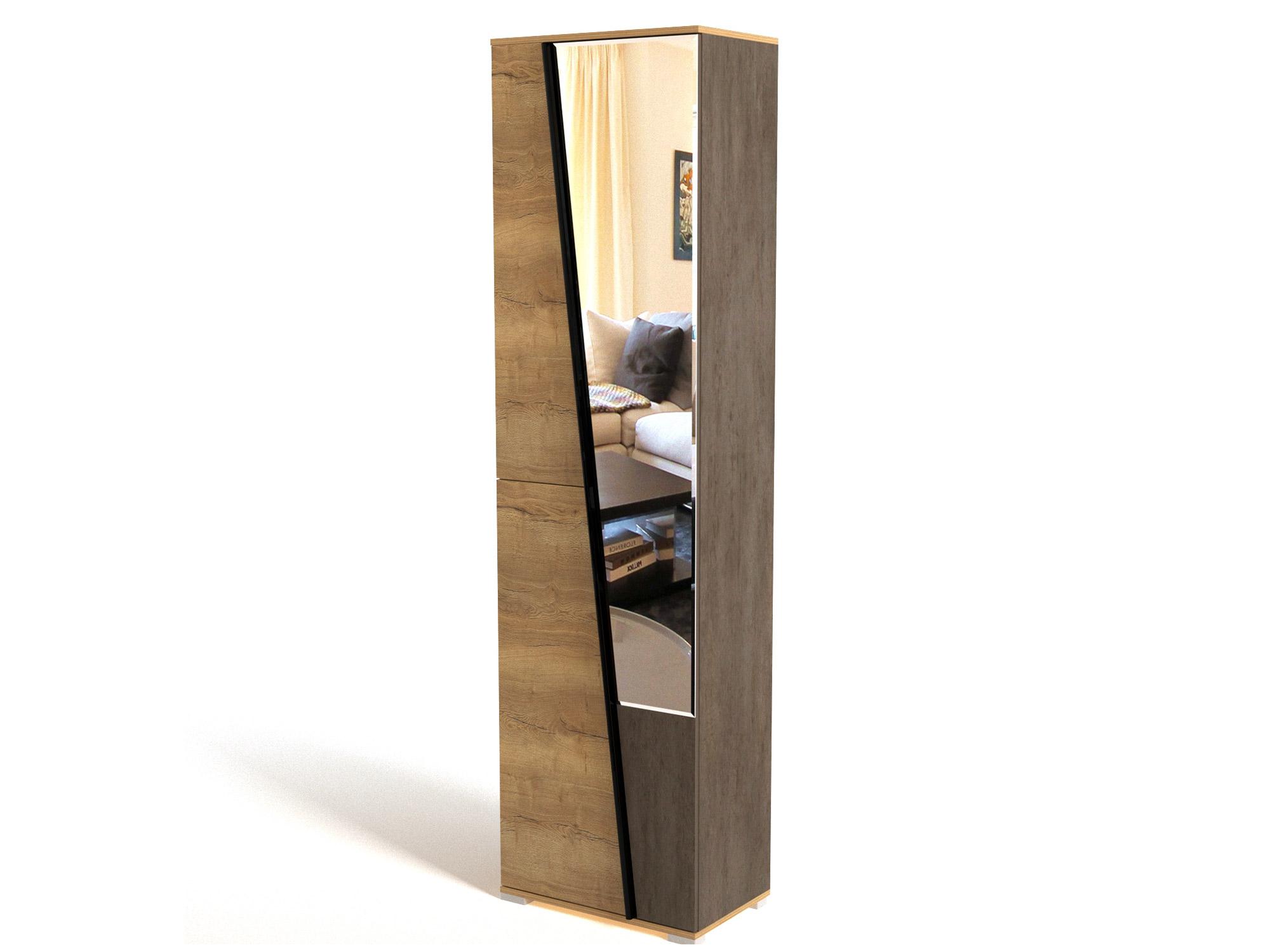 Фото - Шкаф для одежды с зеркалом Стреза Дуб Галифакс натуральный, Бетон шкаф однодверный стреза дуб галифакс натуральный бетон чикаго