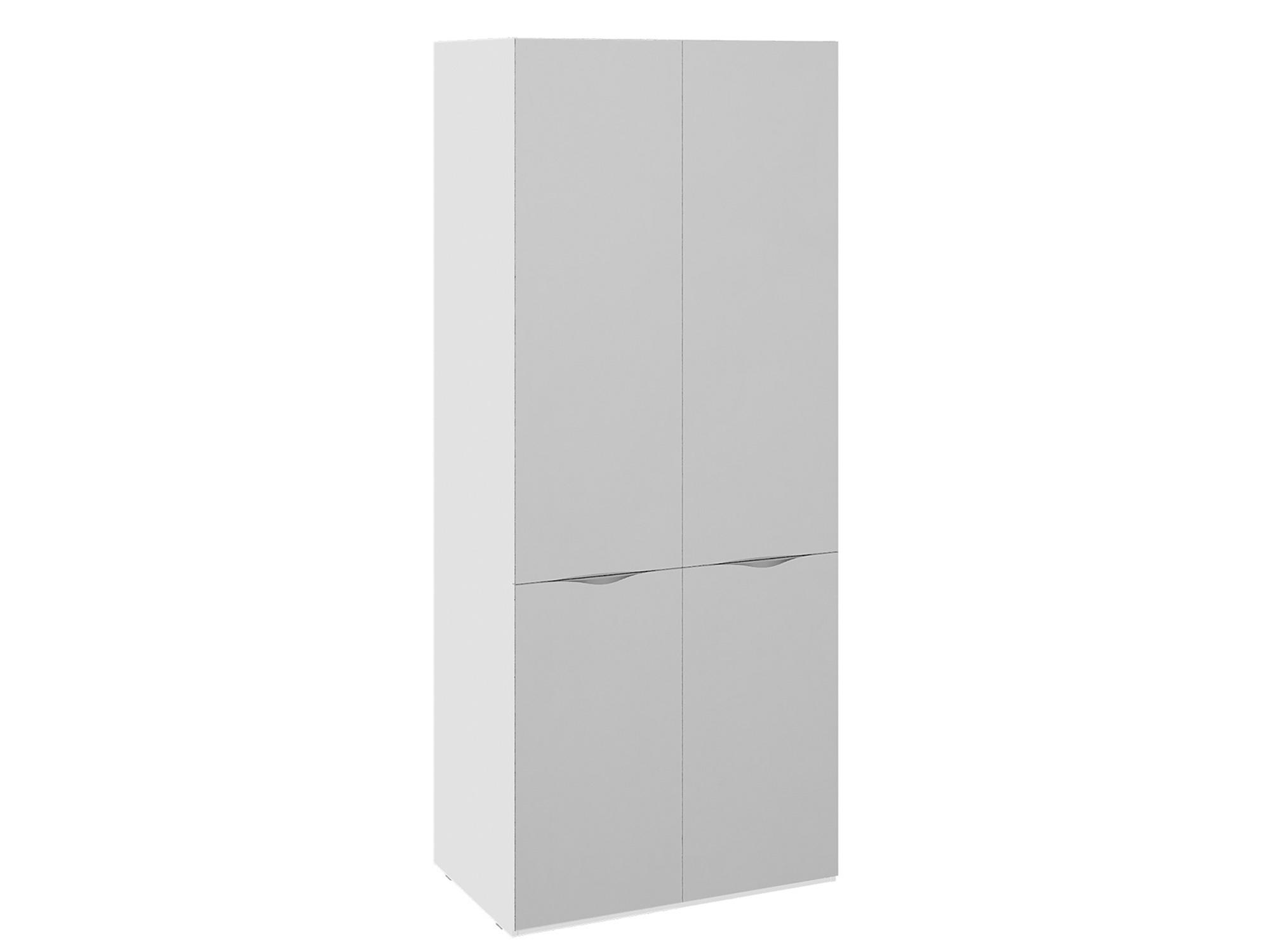 Шкаф для одежды с 2 зеркальными дверями Глосс Белый глянец, шкаф для одежды с 2 мя зеркальными дверями ривьера белый мдф