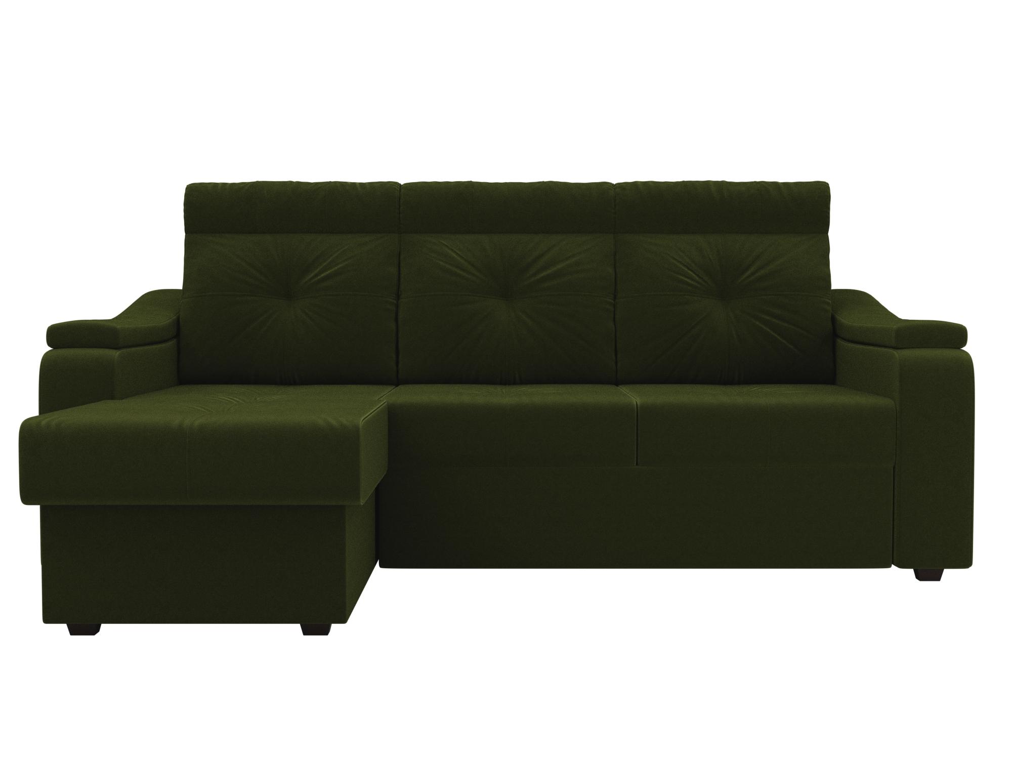 Угловой диван Джастин Левый MebelVia Зеленый, Микровельвет, ЛДСП угловой диван милфорд левый mebelvia зеленый микровельвет лдсп