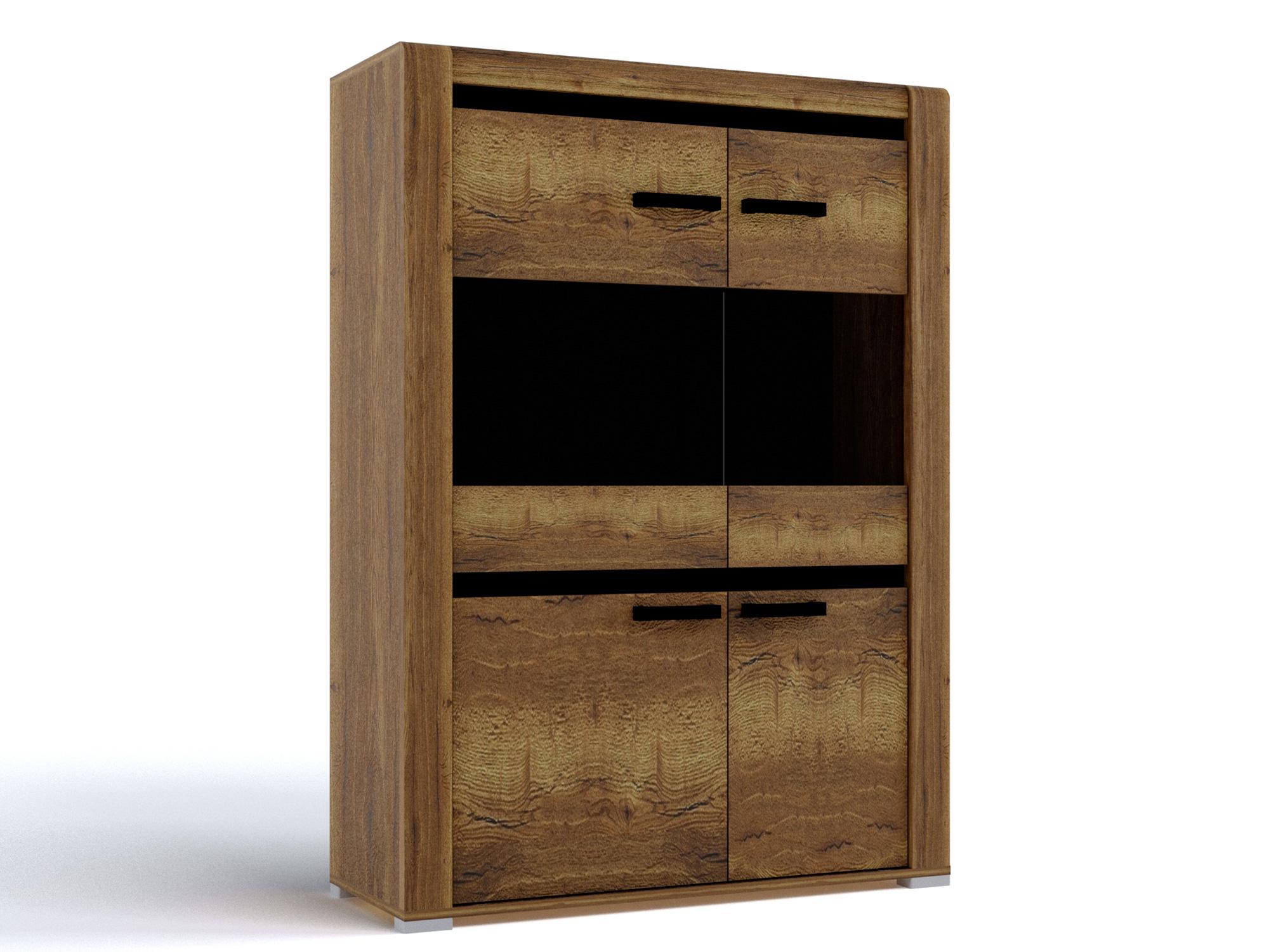 Шкаф низкий Бруна Дуб галифакс табак, Коричневый, Коричневый