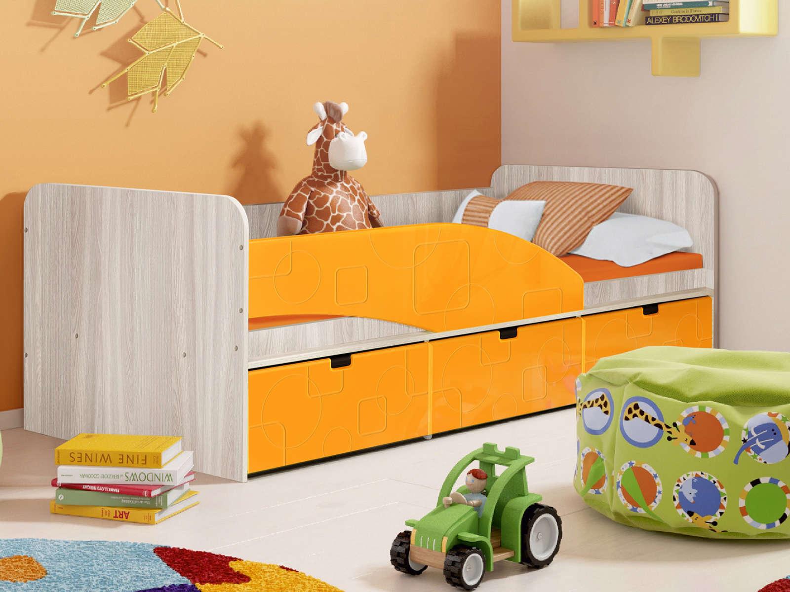Кровать Левая Бриз 3 (80х190) Манго квадрат, Оранжевый, Бежевый, МДФ, Л
