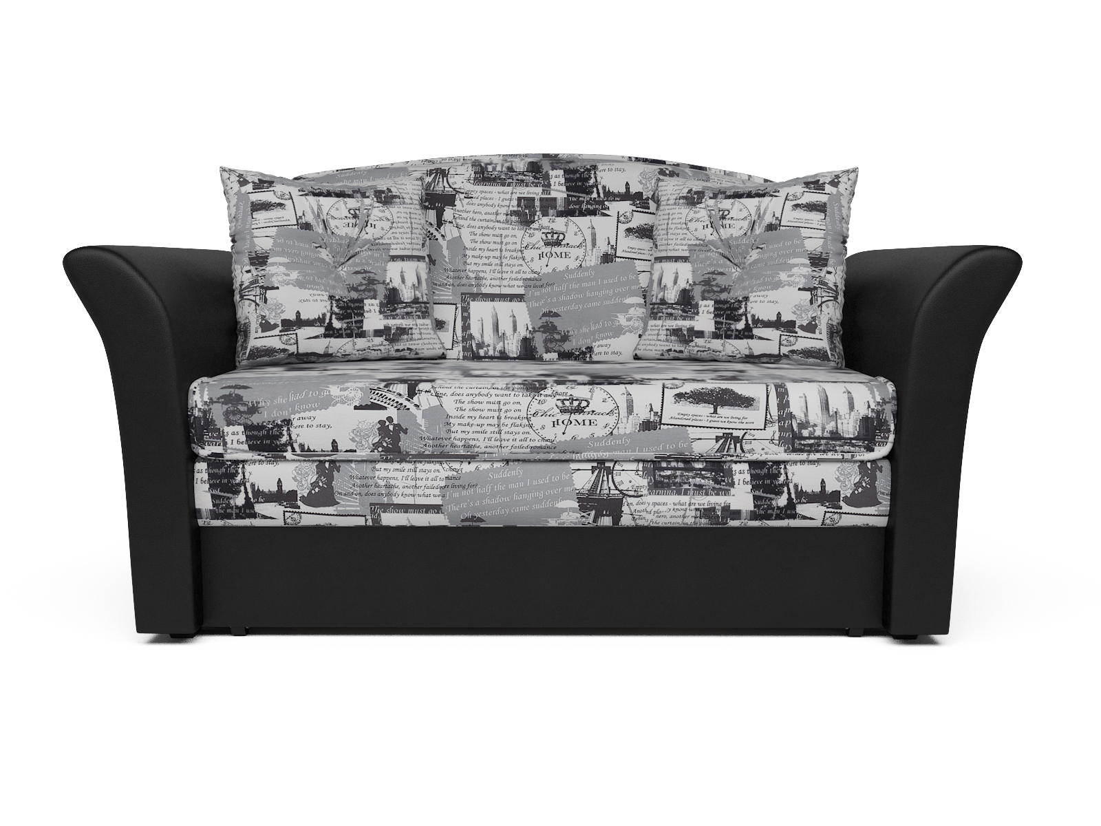 Фото - Диван Малютка 2 MebelVia , Черный, Жаккард, Брус сосны диван малютка кармен mebelvia черный серый жаккард экокожа брус со