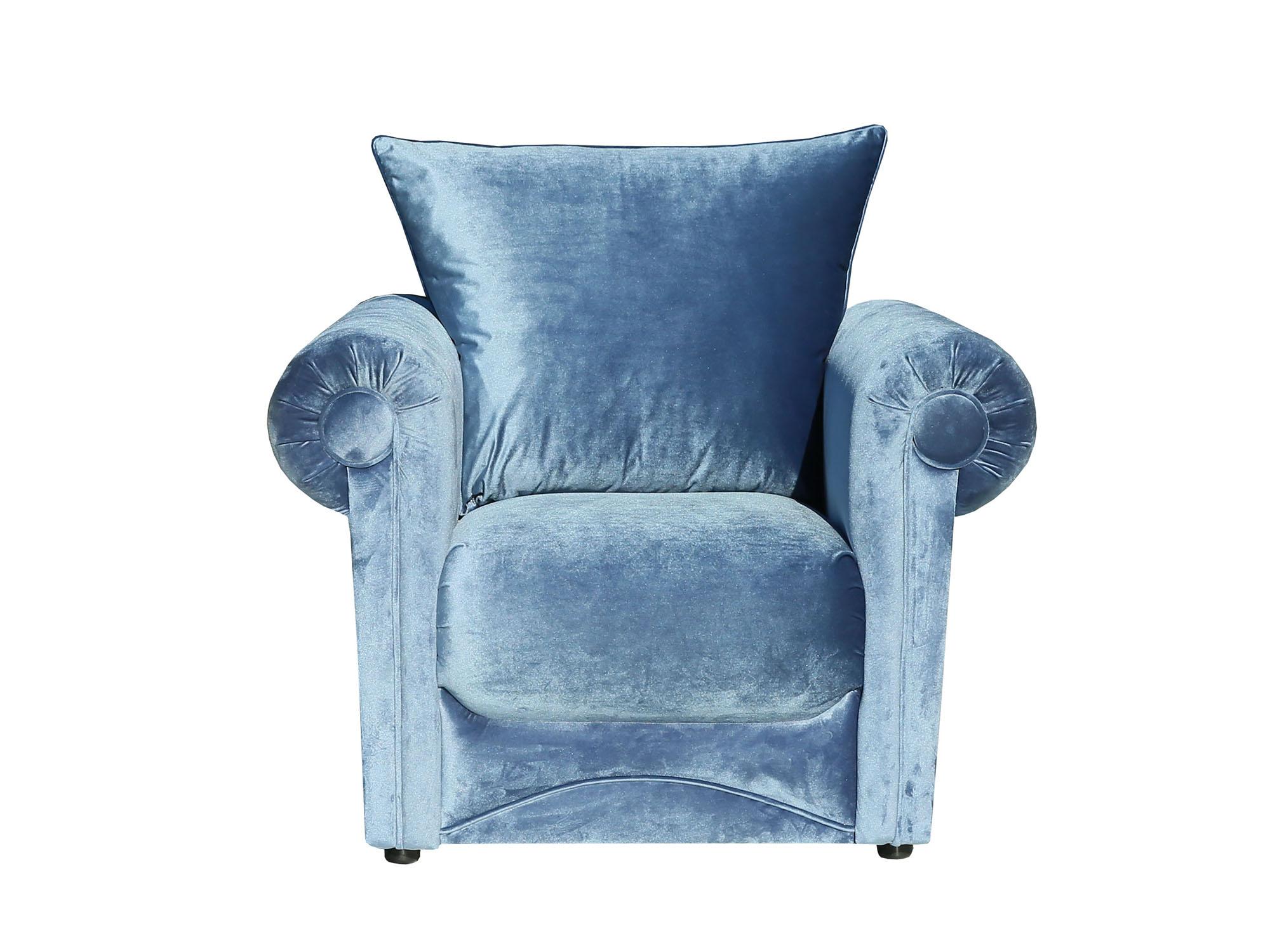 Кресло Амели 4 ст евро MebelVia Голубой, Велюр, Брус хвойных пород