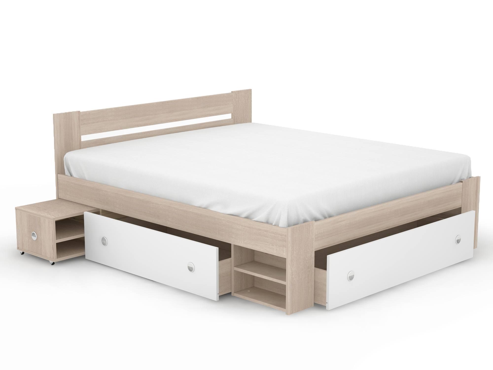Кровать Стефан (180х200) Белый, Бежевый, КДСП тумбы прикроватные