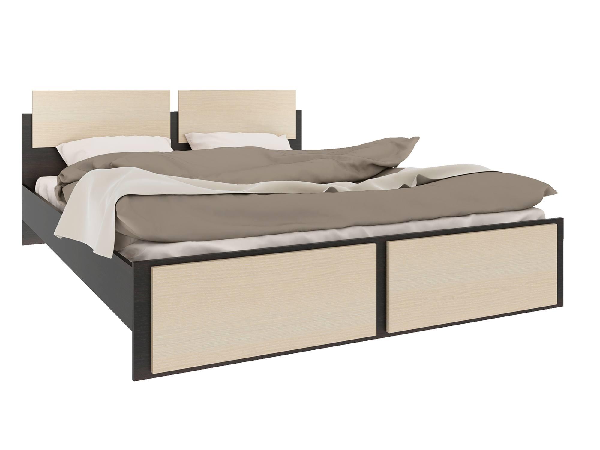 Фото - Кровать Уют (160х200) Дуб молочный, Бежевый, Коричневый темный, ЛДСП спальня виктория дуб молочный бежевый коричневый темный лдсп