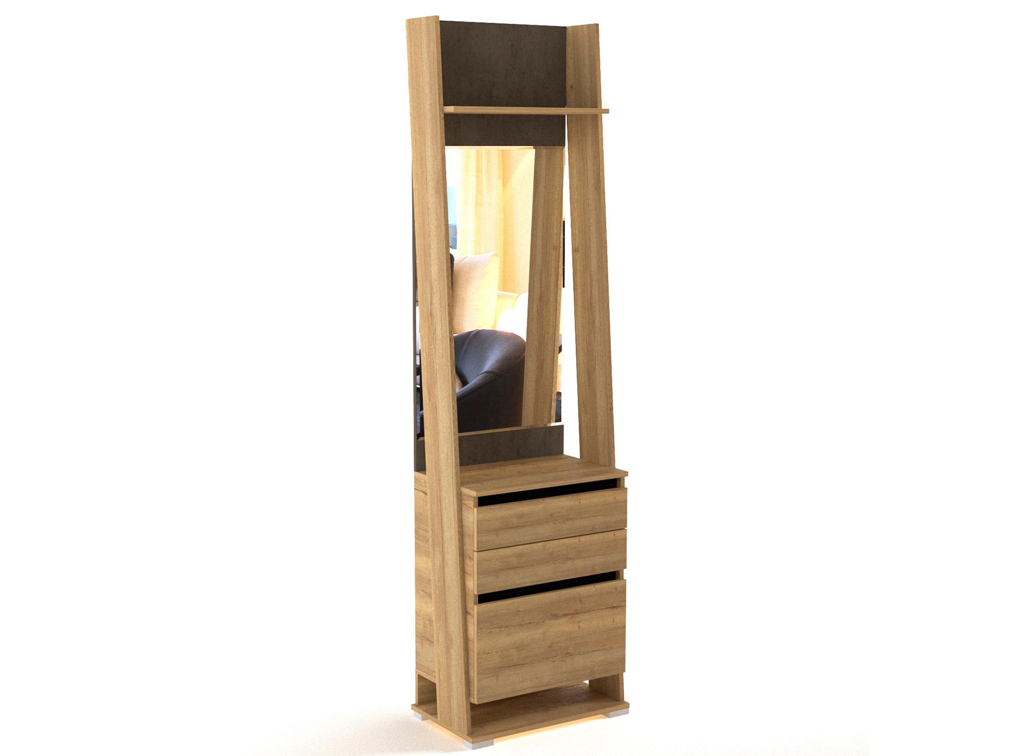 Фото - Шкаф открытый с зеркалом Стреза Дуб Галифакс натуральный, Бетон шкаф однодверный стреза дуб галифакс натуральный бетон чикаго