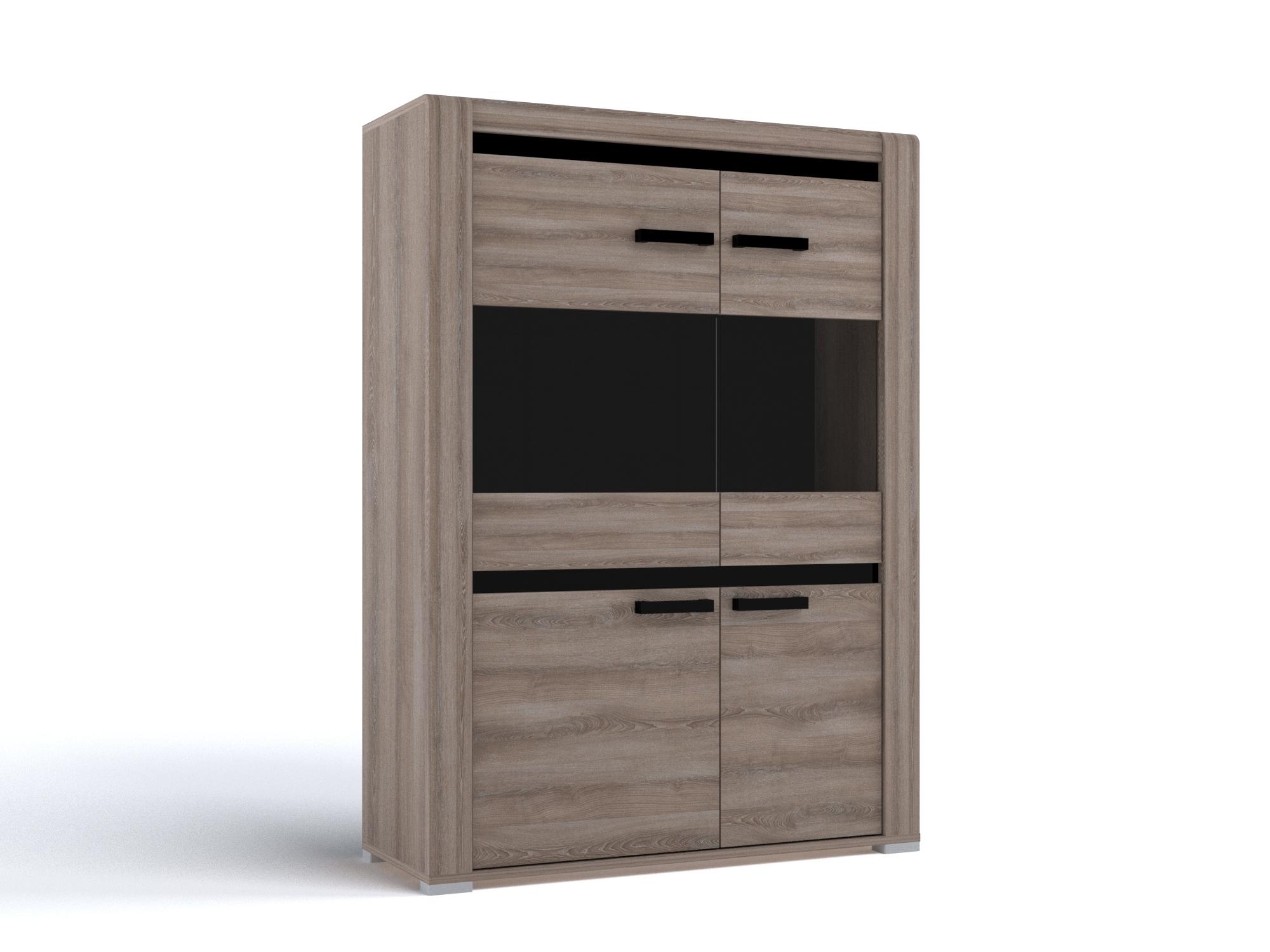 Шкаф низкий Бруна Ясень Таормино, Коричневый, ЛДСП, МДФ, ЛДСП (16 мм)