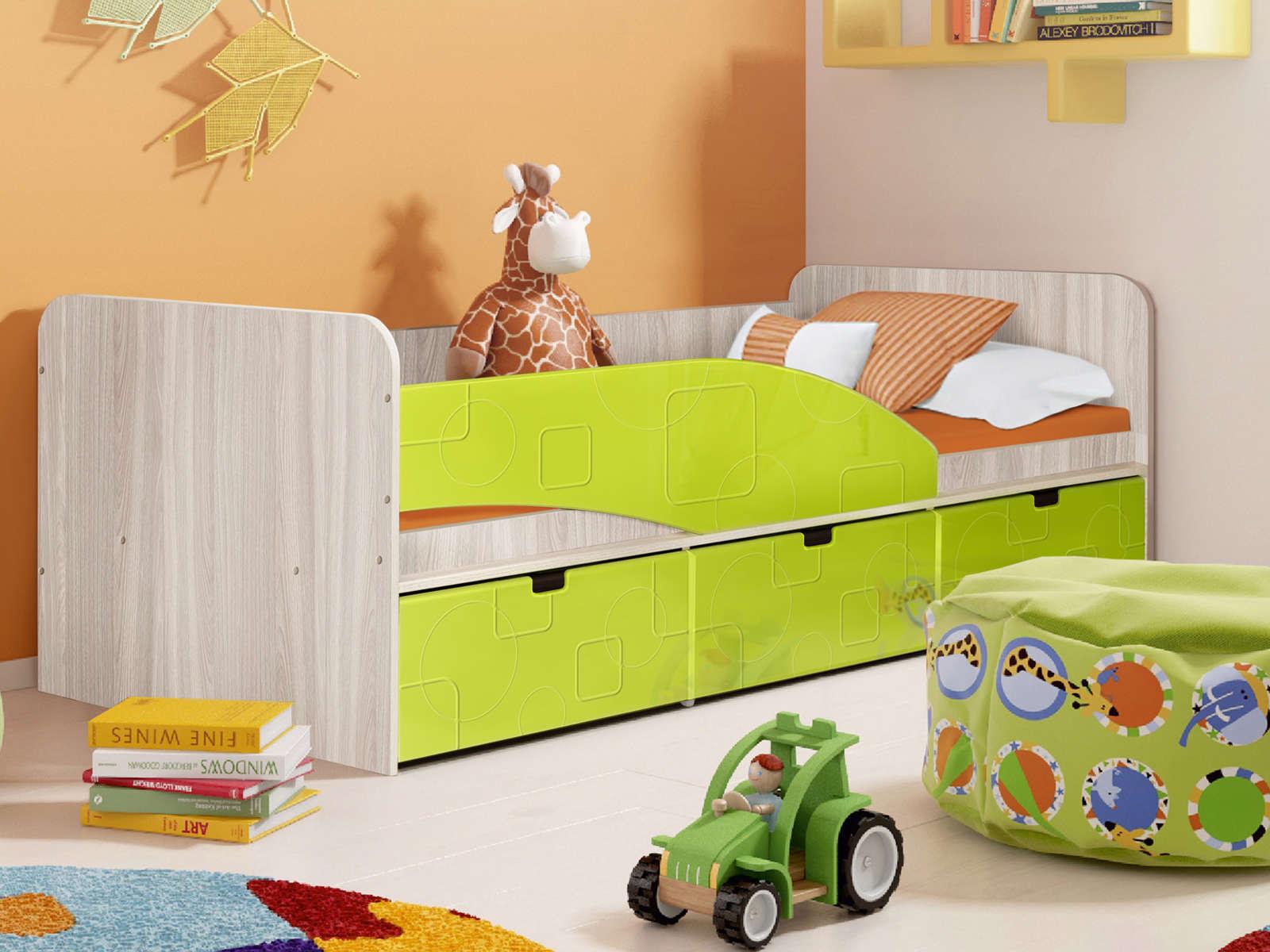 Кровать Левая Бриз 3 (80х190) Лайм квадрат, Зеленый, Бежевый, МДФ, ЛДСП