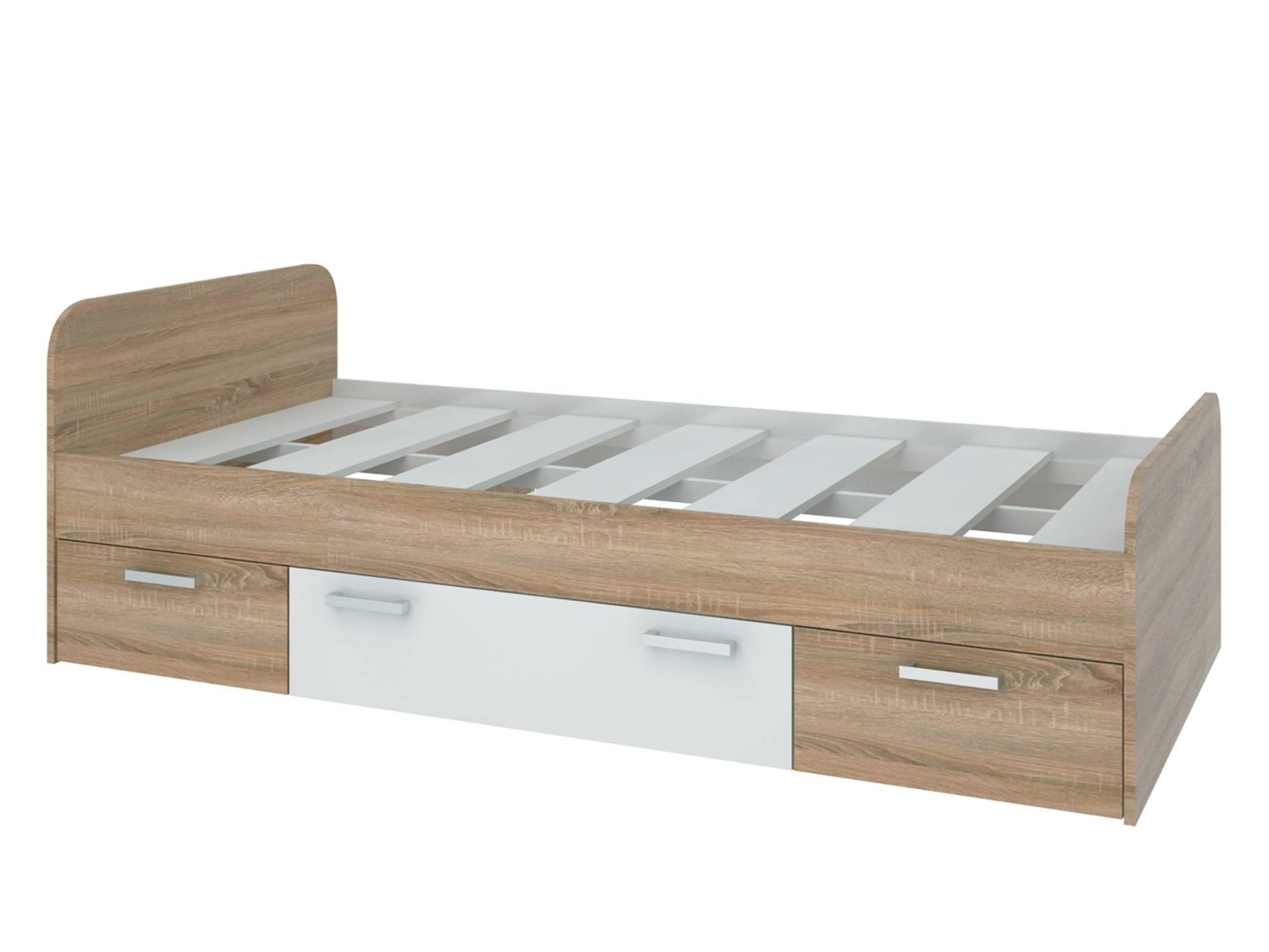 Кровать Мика (90х190) Дуб сонома, Белый, Бежевый, , ЛДСП, КДСП