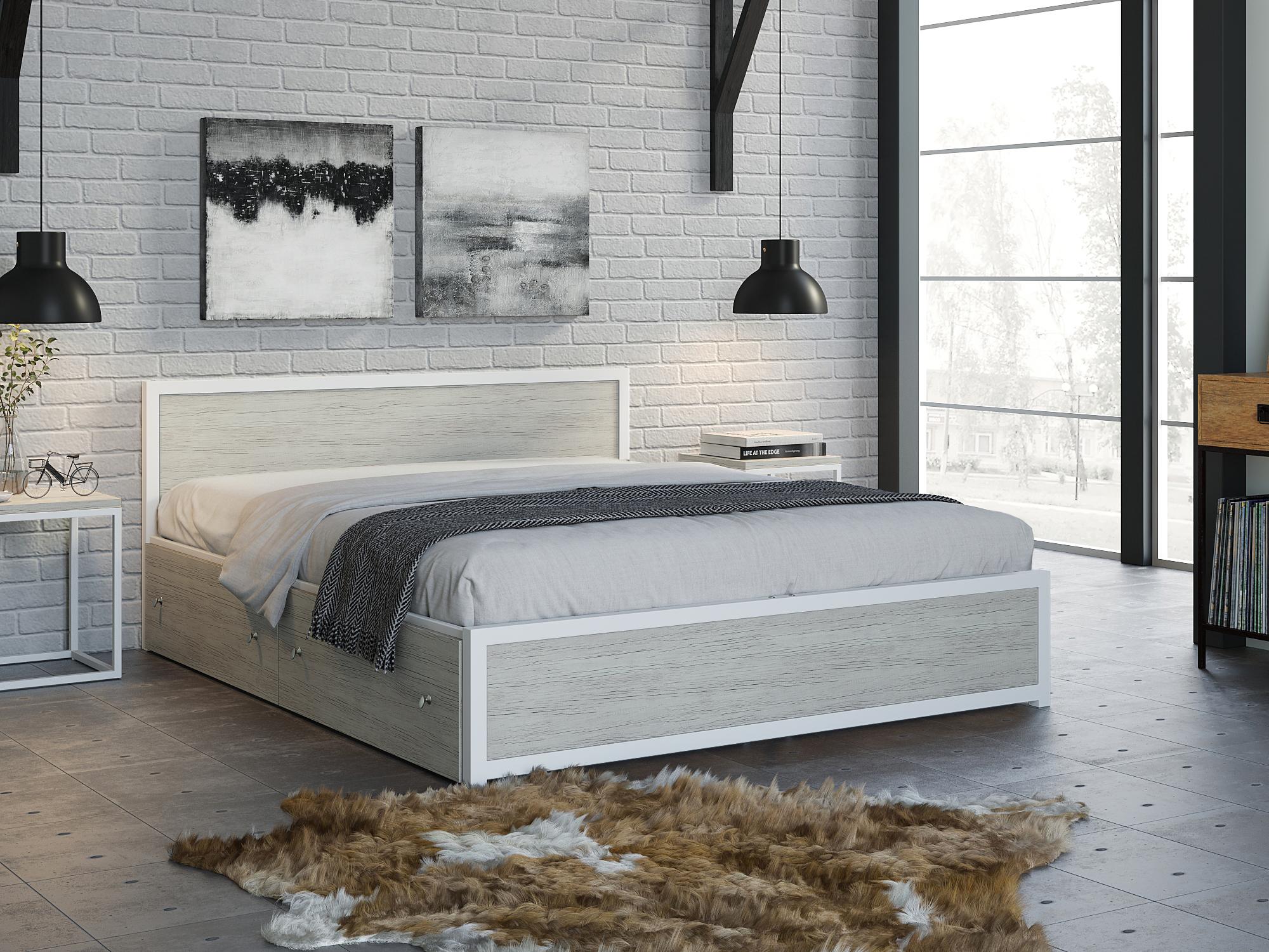 Фото - Кровать Титан (160х200) Дуб крафт белый, Белый, ЛДСП 26 мм, Металл крафт роберт эмиль воздушный пират икс металл