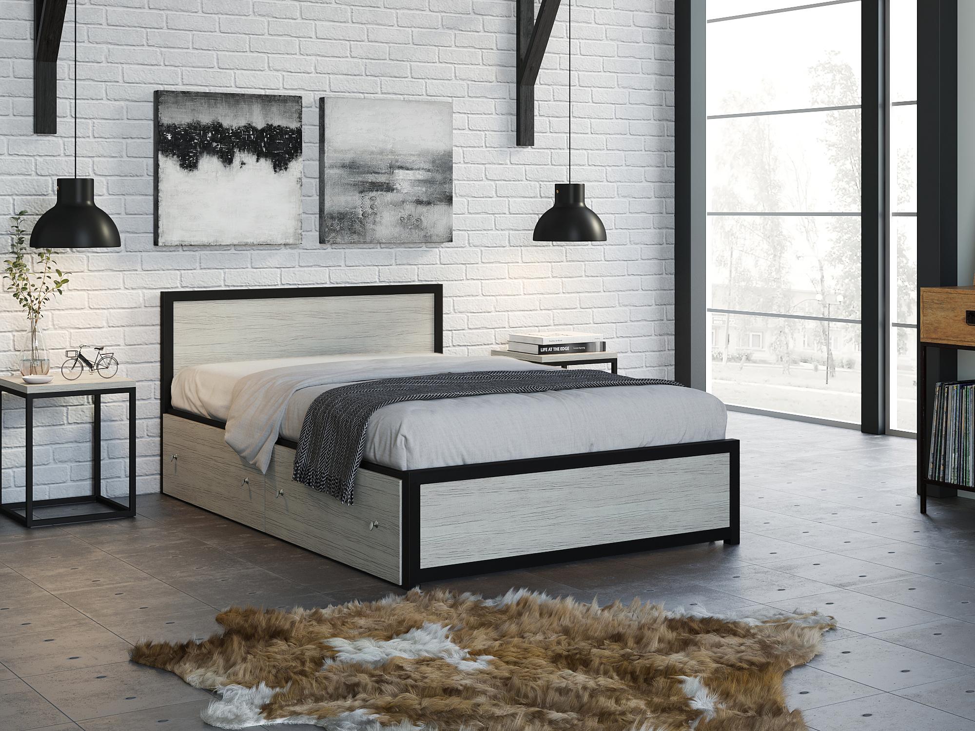 Фото - Кровать Титан (120х190) Дуб крафт белый, Черный, ЛДСП 26 мм, Металл крафт роберт эмиль воздушный пират икс металл