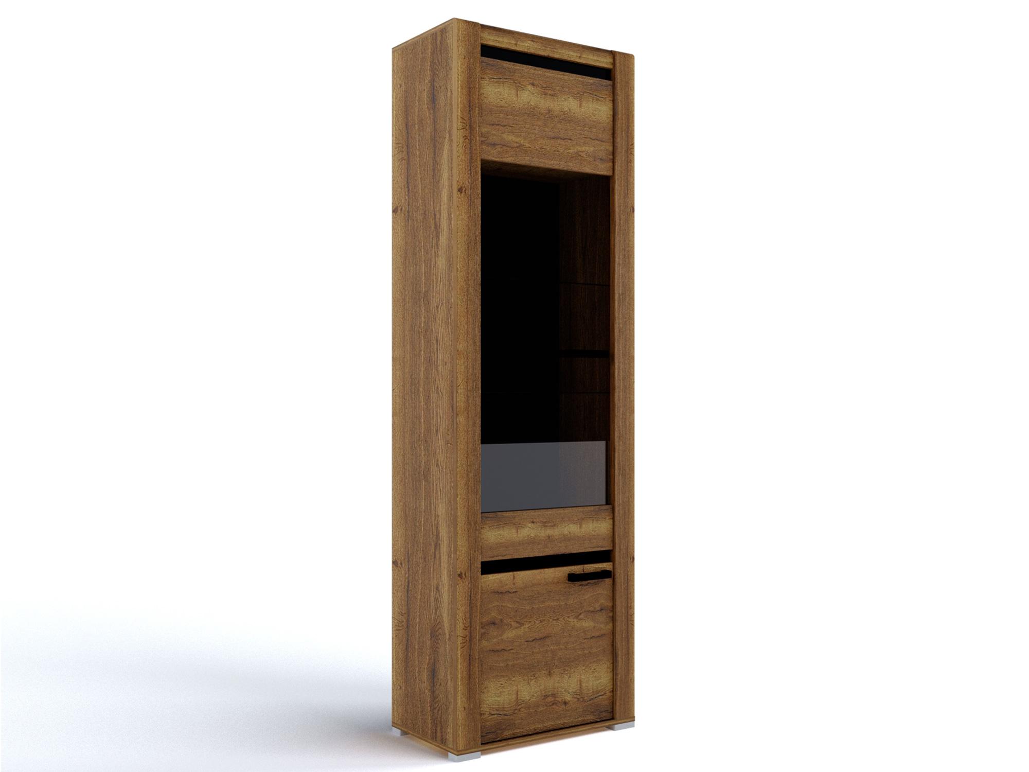 Шкаф со стеклом Бруна Дуб галифакс табак, Коричневый, Коричневый