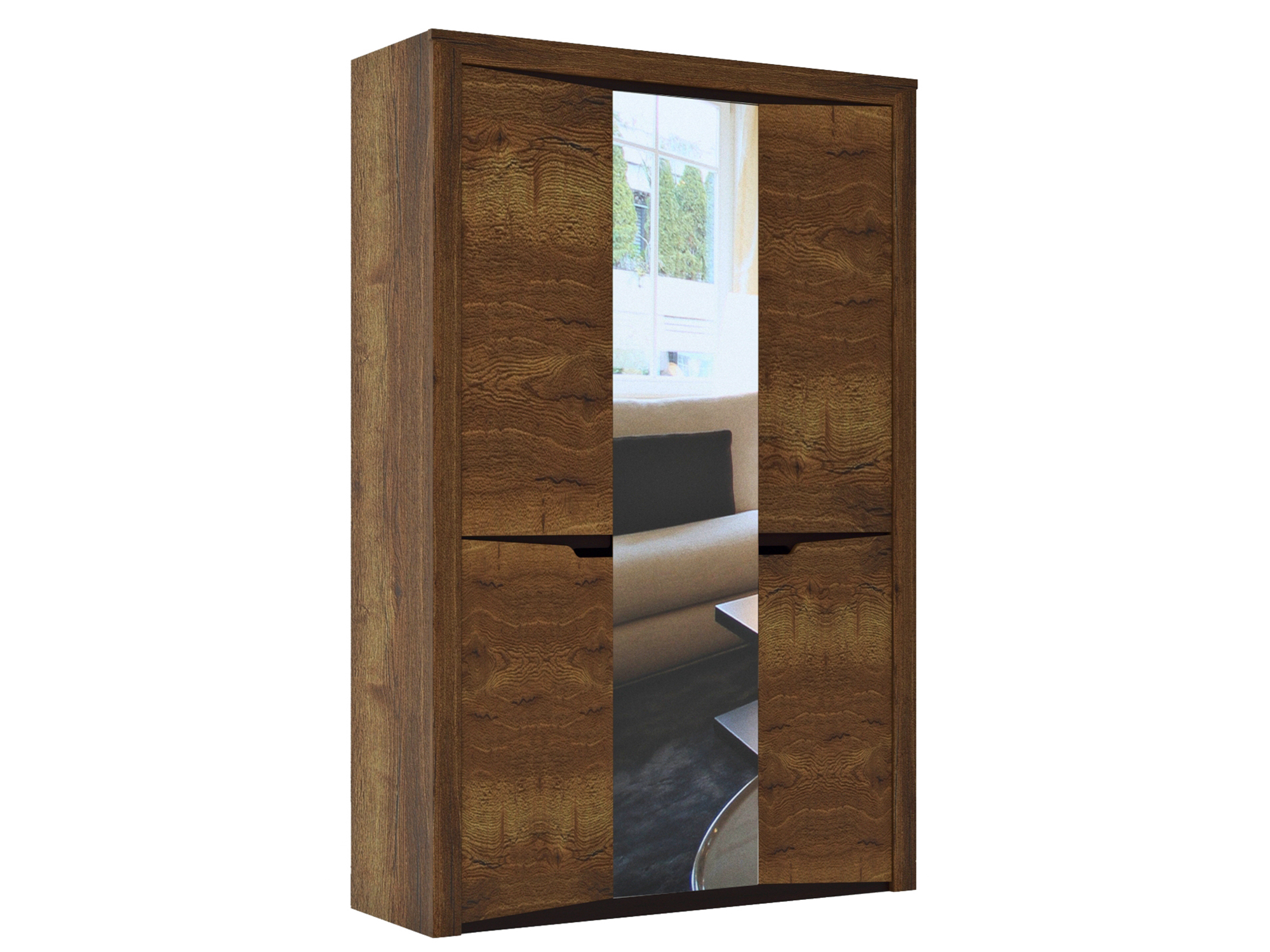 Шкаф 3-х дверный Гарда Дуб галифакс табак, Коричневый, Коричневый
