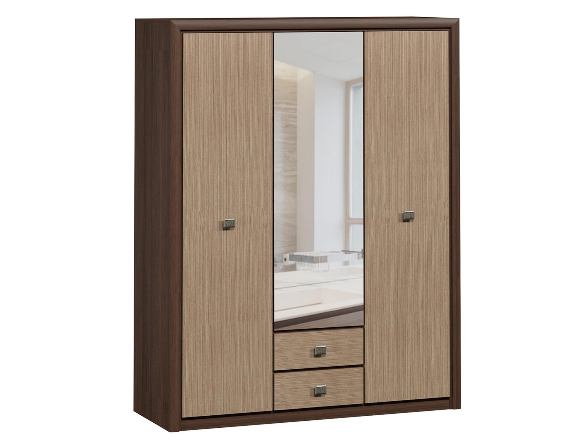 распашной шкаф шкаф 2 х дверный с ящиками коен штрокс темный Шкаф 3-х дверный с ящиками Коен Штрокс темный, Коричневый, МДФ