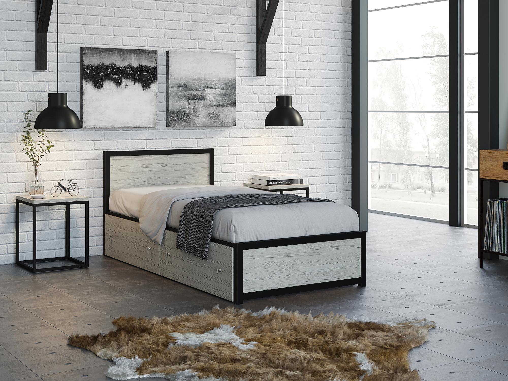 Фото - Кровать Титан (90х190) Дуб крафт белый, Черный, ЛДСП 26 мм, Металл крафт роберт эмиль воздушный пират икс металл