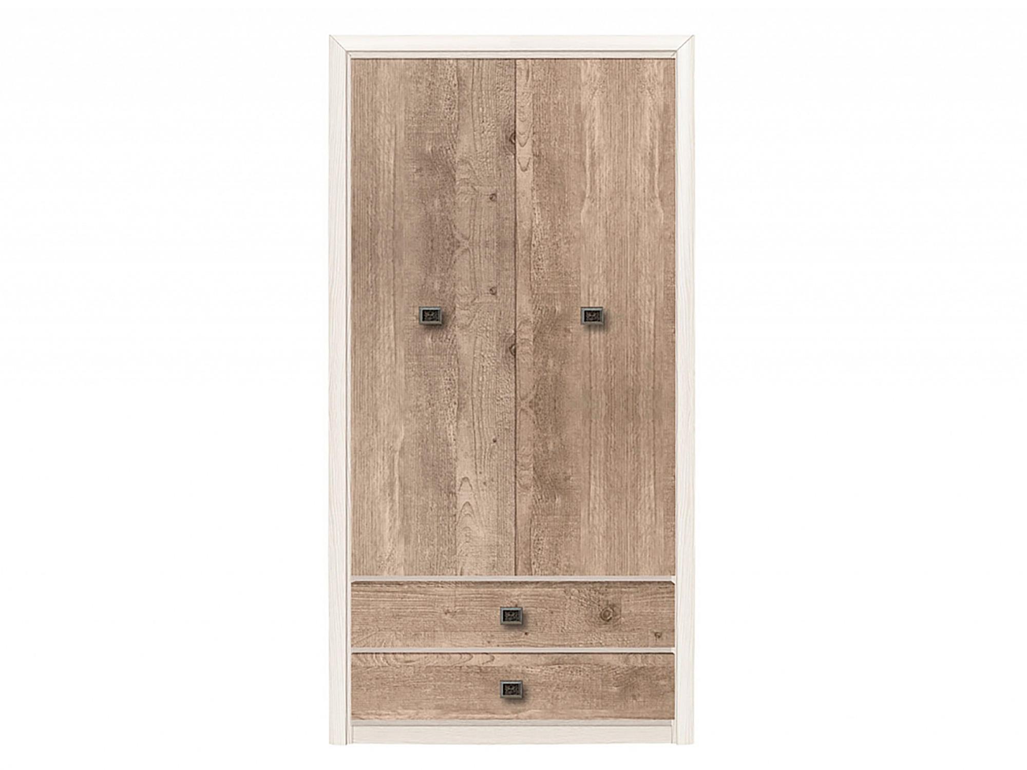 распашной шкаф шкаф 2 х дверный с ящиками коен штрокс темный Шкаф 2-х дверный с ящиками Коен Сосна натуральная, Бежевый, МДФ, ЛД