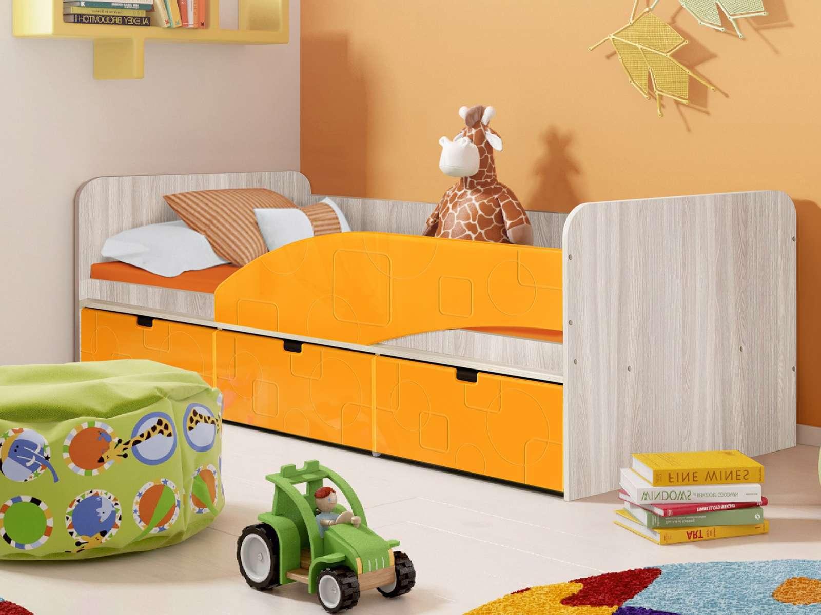 Кровать Правая Бриз 3 (80х190) Манго квадрат, Оранжевый, Бежевый, МДФ,